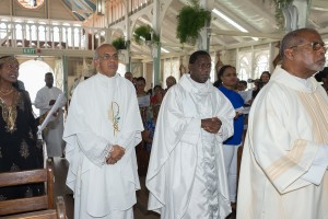 Concelebrants: (L-R) Fr. Jose Marie Thekkekutte (Parish Priest & Moderator of the Tortuga / Gran Couva Tabaquite Cluster), Monsignor Julien Kaboré, (Counselor and Deputy Head of Mission of the Apostolic Nunciature) & Deacon Simon Rostant.